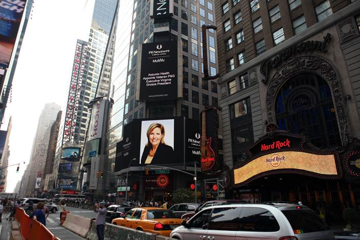 Gina and the headline appeared today on the Thomson Reuters building at 3 Times Square